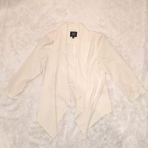Cream Thin Silky Open Blazer, Medium